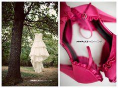 Oklahoma wedding photographer, backyard wedding, pink shoes, wedding dress in tree, woods, beautiful detail shots