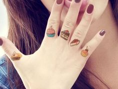 Here are 16 Very Cool Food Tattoos for You Badass Tattoos, Sexy Tattoos, Tatoos, Knuckle Tattoos, Finger Tattoos, Tattoos For Women Small, Small Tattoos, Dessert Tattoo, Candy Tattoo