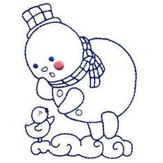 Chubby Snowmen Bluework Set, 10 Designs - 5x7   Winter   Machine Embroidery Designs   SWAKembroidery.com Mimi's Sewing Studio