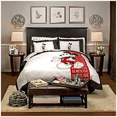 Mickey Mouse bedroom ideas - Minnie Mouse bedroom decor - Mickey Mouse bedding - Minnie Mouse Bedding - Mickey Mouse wall decals - Mickey Mouse Comforters - Disney home decor - Mickey & Friends - Mickey Mouse furniture - Minnie Mouse wall decals - Mickey Disney Themed Rooms, Disney Bedrooms, Princess Bedrooms, Small Room Bedroom, Small Rooms, Master Bedroom, Dream Bedroom, Bed Room, Bedroom Themes