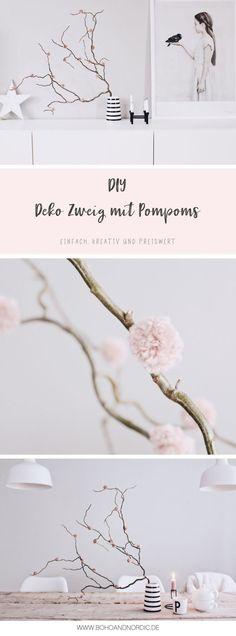 DIY Deko Mit Pompoms   Deko Zweig Mit Bommeln Selber Machen    Wohnaccessoires Einfach Und Günstig