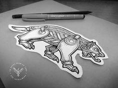 I've finally finished this Wolverine design #drawing #sketch #illustration #linework #dotwork #stippling #engraving #tattoo #tattoodesign #black #ink #blackandwhite #viking #norse #pagan #style #mammen #ringerike #vikingtattoo #wolverine #wolf #bear #beast #czech