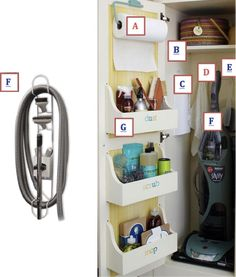 Utility Closet Storage, Home Storage. There's nothing better than having all your cleaning items together so you know what you do and don't need to buy. But the best part is that it's all hidden away! Hidden Storage is the best!