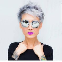Not sure what board to pin this picture on... hair, make up, or just looking cool as