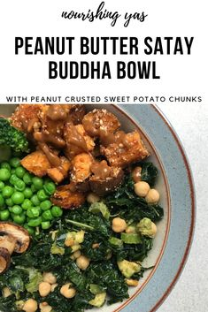Vegan Peanut Butter Satay Buddha Bowl - with peanut crusted sweet potato chunks and a rich, creamy satay dressing | Nourishing Yas - Simple Plant based Recipes #buddhabowls #vegan #veganrecipes #plantbased #healthyrecipes #dinner #sweetpotato #peanutbutter #satay #peanutsatay
