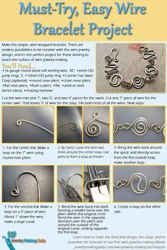 If you like wire jewelry, then you'll LOVE this easy wire jewelry making project shown in an infographic that focuses on how to make a wire bracelet! #wirejewelry #DIY #jewelrymaking