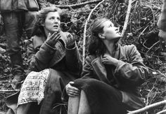 Serbia, Women who were caprtured by German soldiers during a search for partisans, 1941.