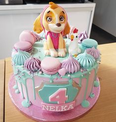 3rd Birthday Cakes For Girls, Birthday Drip Cake, Animal Birthday Cakes, Pink Birthday Cakes, Girls Paw Patrol Cake, Skye Paw Patrol Cake, Paw Patrol Birthday Girl, Bolo Hello Kitty, Fondant