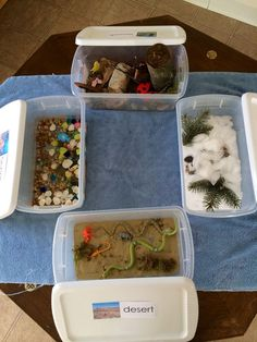 Habitats Sensory Bins - Desert, Tundra, Ocean, and Woods. This would be helpful in allowing students to kinesthetically and visually see the physical characteristics of an environment. Preschool Themes, Preschool Classroom, Preschool Crafts, Animal Activities, Science Activities, Preschool Activities, Sensory Boxes, Sensory Table, Sensory Play