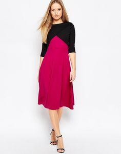 ASOS+Bonded+Midi+Dress+with+Wrap+Front
