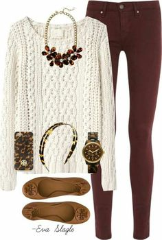 This is a great Thanksgiving outfit! Mode Outfits, Casual Outfits, Fashion Outfits, Womens Fashion, Casual Wear, Simple Outfits, Dress Casual, Trendy Fashion, Ladies Outfits