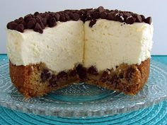 Classic No Bake Cheesecake on Chocolate Chip Cookie Crust YUM