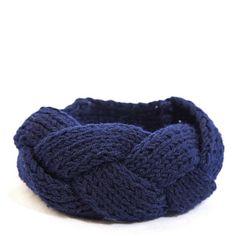 Diademas de punto Navy - Bufanda Cuello. Las diademas de punto son una pieza de lana en tejido de punto original.