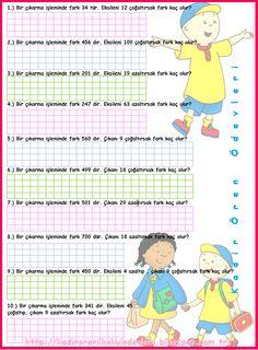 ilkokul ödevleri: 3. sınıf eksileni çıkanı azaltıp çoğaltma Maths, Word Search, Family Guy, Education, Words, Ideas, Deutsch, Teaching, Onderwijs