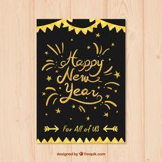 Handwritten new year card Free Vector