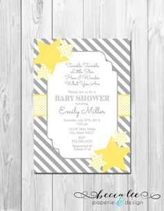 Twinkle, Twinkle Little Star Baby Shower Invitation - Grey and Yellow - Gender Neutral - DIY - Printable on Etsy, $14.00