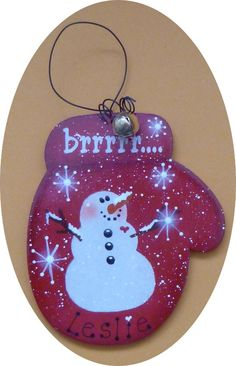 Personalized Ornament Mitten Christmas Snowman Red Hand Painted Wood.