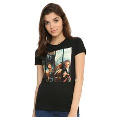 Hot Topic Doctor Who The Doctors Girls T-Shirt ($10) ❤ liked on Polyvore featuring tops, t-shirts, fitted tops, fitted t shirts and fitted tee