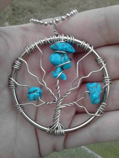 Turquoise dyed Howlite stone handmade Tree of Life pendent. Comes with 19in…