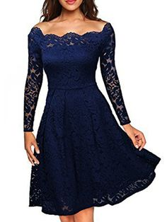 online shopping for ASCHOEN Women's Vintage Floral Off Shoulder Lace Long Sleeve Boat Neck Cocktail Formal Swing Dress from top store. See new offer for ASCHOEN Women's Vintage Floral Off Shoulder Lace Long Sleeve Boat Neck Cocktail Formal Swing Dress Lace Party Dresses, Spring Dresses, Elegant Dresses, Sexy Dresses, Evening Dresses, Dress Party, Woman Dresses, Sleeve Dresses, Party Wear