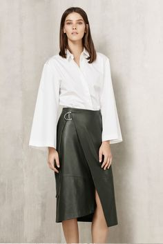 The Modern Utility trend embraces luxury leather and suede as the hero fabrics once again, in skirts and outerwear The key skirt shape is the wrap. A stylish move on from the pencil, the wrap skirt is an easy wardrobe update that will take you effortlessly into Spring