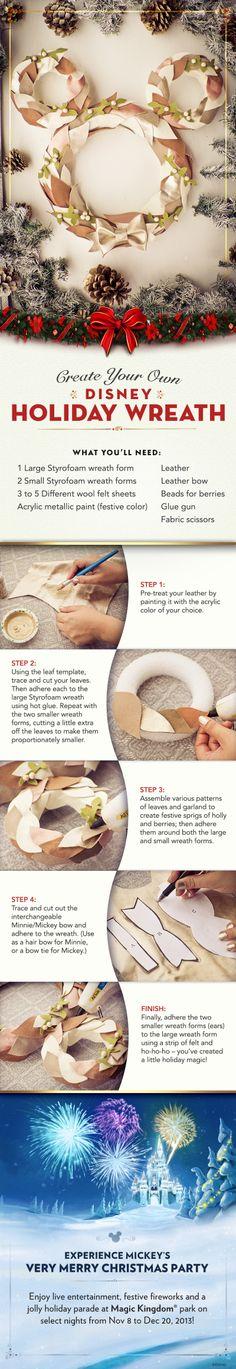 Create your own Disney Holiday Wreath #DIY #Tutorial #Christmas #WaltDisneyWorld