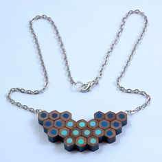 A blend of blues - each one has been handmade by us using colouring pencils recycled from the Derwent Pencil factory. Being handmade, each necklace is unique so yours might look slightly different to the one in the picture. Blue Necklace, Turquoise Necklace, Pendant Necklace, Derwent Pencils, Diy Jewelry, Jewellery, Colored Pencils, Bling, Chain