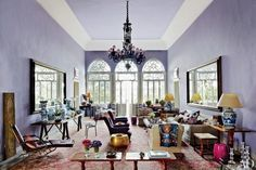 Exotic Living Room by May Daouk Decoration and Design in Beirut, Lebanon Purple Rooms, Purple Walls, Purple Haze, Periwinkle, Purple Gold, Blue Yellow, Pink White, Hot Pink, Architectural Digest