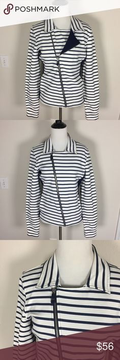 """Sperry Asymmetrical Zip Stretchy Jacket Athletic fit. Thumb hole on sleeves. Navy blue and white stripes. 95% cotton, 5% elastane for comfortable stretch. Diagonal zipper. Collar. When laid flat, 18 inches across the bust from armpit to armpit. 20 inch long sleeves. Ask any questions. Make an offer using the """"offer"""" button. 15% discount on bundles. (A) Sperry Top-Sider Jackets & Coats"""