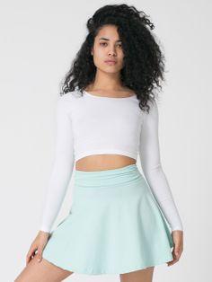 Cotton Spandex Jersey High-Waist Skirt + Long Sleeve Crop Top. #AmericanApparel #asia