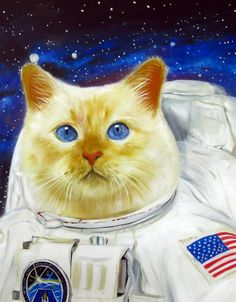 Space cat Astronaut cat NASA cat cat in space art cool cat pet gift idea custom oil painting from Splendid Beast