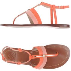Tory Burch Sandals ($205) ❤ liked on Polyvore featuring shoes, sandals, coral, leather sandals, leather flat shoes, leather sole sandals, round toe shoes and tory burch