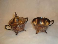 Vintage International Silver Finest Hand Crafted Sugar Bowl W/ Lid & Creamer Set #InternationalSilver