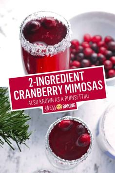 A cranberry mimosa pairs tart cranberries with a sugar-rimmed glass and sparkling champagne bubbles! Cranberry Champagne Cocktail, Drinks With Cranberry Juice, Cranberry Mimosa, Cranberry Recipes, Holiday Recipes, Fall Recipes, Christmas Cocktails, Holiday Drinks, Holiday Punch
