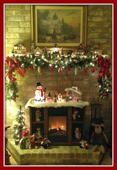 Crafty in Crosby: Mom's Christmas Mantel christmas village ideas Christmas Fireplace, Christmas Mantels, Christmas Mom, Country Christmas, Christmas Projects, Beautiful Christmas, Vintage Christmas, Christmas Ideas, Miniature Christmas