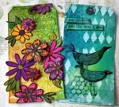 Tags using Dylusions ink, stamps, and other products.