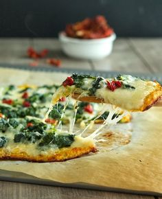 Cauliflower Crust Spinach White Pizza   #TheIronYou