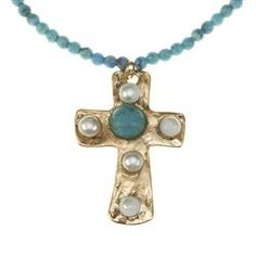 Turquoise Bead Necklace with Gold Pearl Cross..this is great!