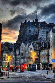 Dusk in Edinburgh, Scotland.