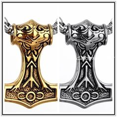 Silver&Gold Stainless Steel Men's Thor's Hammer Viking Amulet Mjolnir Necklace