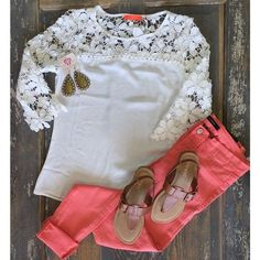 Yes, yes, yes! Love the pants! Love the lace detail of the top!