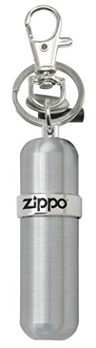 Zippo Fuel Canister. High quality aluminum. Swivel slip & split key ring; Holds keys or clips to anything. Protects fuel from evaporating & lasts longer. Quickly loosens/tightens lighter flint screws. Flint screw tool; Stores one Zippo flint.