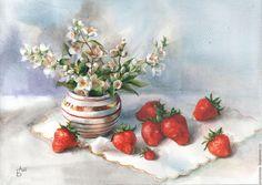 Купить Клубничный десерт. - серый, клубника, жасмин, натюрморт, натюрморт с цветами, натюрморт акварелью, акварель