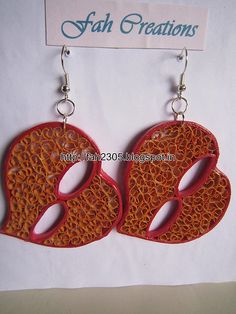 Handmade Jewelry - Beehive Paper Quilling Heart Earrings (3)