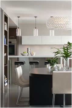 jamesthomas : residential and commercial interior design. Cool kitchen lighting and contemporary design.