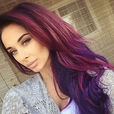 pretty much my hair color combo right now.  inspired me to do the warm purple dark base and then a cooler blue based purple for contrast.