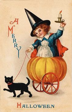Vintage Halloween Chair Love the Campbell's Soup girl style witch character. vintage postcard Vintage Halloween C. Retro Halloween, Halloween Chat Noir, Halloween Fotos, Vintage Halloween Images, Halloween Prints, Halloween Pictures, Vintage Holiday, Holidays Halloween, Happy Halloween