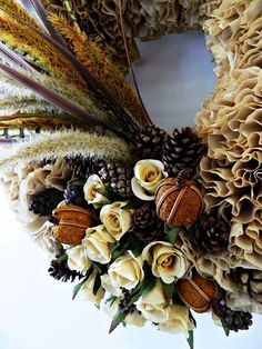fall coffee filter wreath, crafts, seasonal holiday decor, wreaths, A couple of hours will get you a pretty spiffy and inexpensive new fall wreath Unbleached coffee filters a foam wreath and the decorations of your choice Pretty great results from a whole lotta nothin