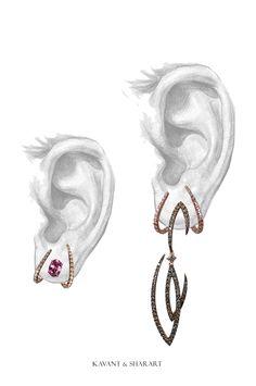 Kavant & Sharart Convertible Earrings - Ear Tux Pink Sapphire studs ------> long dangling diamond earrings www.kavantandsharart.com