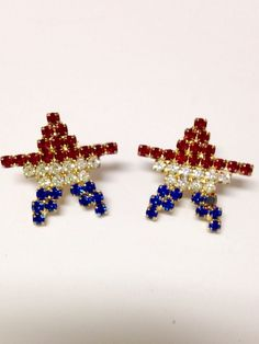 Vintage Star Rhinestone Pierced Earrings Patriotic USA Costume Jewelry | Jewelry & Watches, Vintage & Antique Jewelry, Costume | eBay!